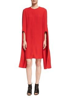 Narciso Rodriguez Cape-Sleeve Viscose Shift Dress
