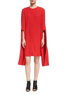 Narciso Rodriguez Cape-Sleeve Viscose Shift Dress