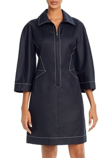 Narciso Rodriguez Coated Contrast-Stitched Zip-Front Dress
