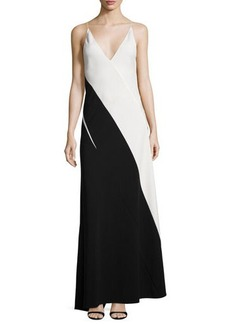 Narciso Rodriguez Colorblock Sleeveless V-Neck Gown
