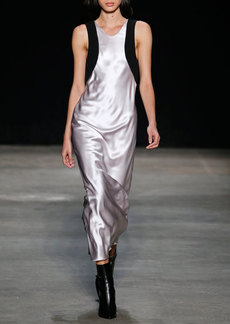 Narciso Rodriguez Contrast-Trim Satin Column Gown