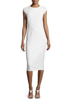 Narciso Rodriguez Darted Woven Cap-Sleeve Sheath Dress