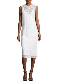 Narciso Rodriguez Devoré Sleeveless Round-Neck Dress