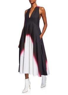 Narciso Rodriguez Dip-Dyed Deep V-Neck Dress