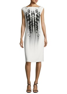 Narciso Rodriguez Dot-Print Cap-Sleeve Boat-Neck Dress