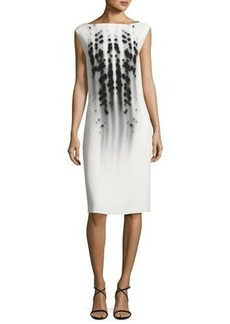 Narciso Rodriguez Dot-Print Cap-Sleeve Boat-Neck Dress