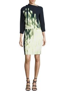 Narciso Rodriguez Dot-Print Drape-Neck 3/4-Sleeve Dress