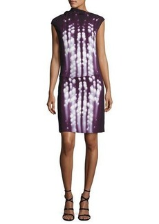 Narciso Rodriguez Dot-Print Sleeveless Drape-Neck Dress