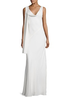 Narciso Rodriguez Draped Cowl-Neck Sleeveless Gown