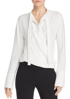 Narciso Rodriguez Draped Faux-Wrap Silk Blouse