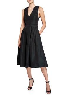 Narciso Rodriguez Empire-Waist Taffeta Midi Dress
