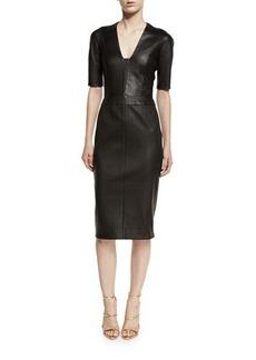Narciso Rodriguez Leather Half-Sleeve V-Neck Dress