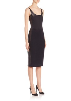 Narciso Rodriguez Leather, Wool & Silk Sheath Dress