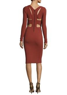 Narciso Rodriguez Long-Sleeve Cutout-Back Dress