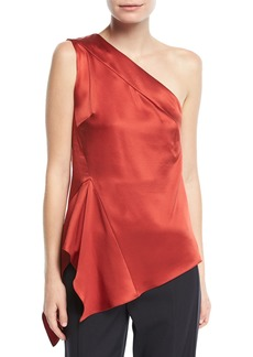 Narciso Rodriguez One-Shoulder Handkerchief-Hem Silk Top