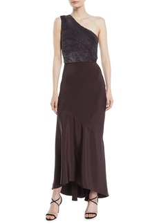 Narciso Rodriguez One-Shoulder Paillette-Embroidered Bodice Silk Trumpet Cocktail Dress