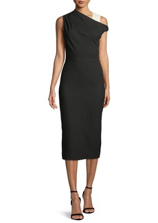 Narciso Rodriguez One-Shoulder Wool Midi Sheath Dress