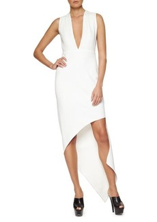 Narciso Rodriguez Plunging Asymmetric Crepe Dress
