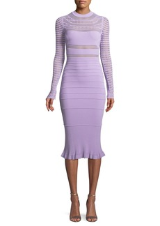 Narciso Rodriguez Round-Neck Long-Sleeve Open-Weave Knit Midi Dress