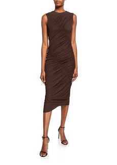 Narciso Rodriguez Ruched Jersey Asymmetric Dress