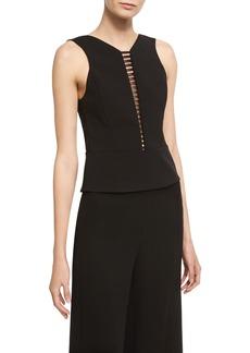 Narciso Rodriguez Sculpted Sleeveless Top with Ladder Inset
