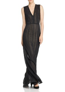 Narciso Rodriguez Sequined Stitched Stripe-Effect Gown
