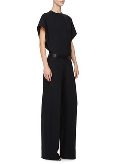Narciso Rodriguez Short-Sleeve Belted Jumpsuit
