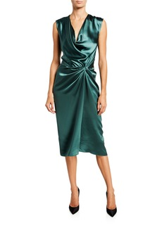 Narciso Rodriguez Silk Satin Knotted-Waist Midi Dress