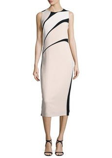 Narciso Rodriguez Sleeveless Bicolor Crepe Sheath Dress