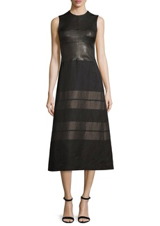 Narciso Rodriguez Sleeveless Contrast-Striped Midi Dress