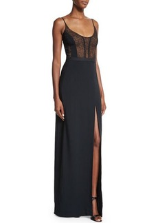 Narciso Rodriguez Sleeveless Lace-Bodice Gown