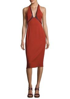 Narciso Rodriguez Sleeveless Leather-Tipped Sheath Dress