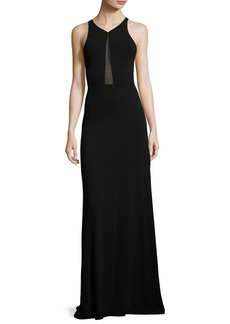Narciso Rodriguez Sleeveless Sheer-Inset Cady Gown