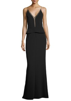 Narciso Rodriguez Sleeveless Sheer-Trim Peplum Gown