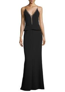Narciso Rodriguez Sleeveless Sheer-Trim Peplum Gown