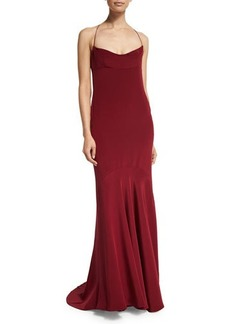 Narciso Rodriguez Sleeveless Silk Chemise Open-Back Gown