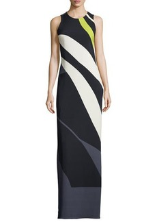 Narciso Rodriguez Sleeveless Striped Crepe/Chiffon Gown