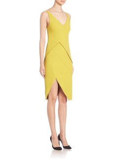 Narciso Rodriguez Sleeveless V-Neck Asymmetric Dress