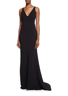 Narciso Rodriguez Sleeveless V-Neck Fluted Gown