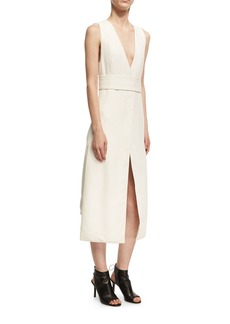 Narciso Rodriguez Sleeveless Viscose V-Neck Dress with Slits