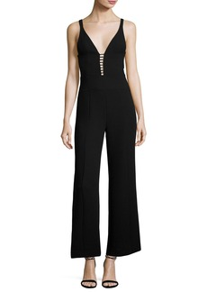 Narciso Rodriguez Sleeveless Wide-Leg Jumpsuit with Ladder Inset
