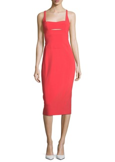 Narciso Rodriguez Square-Neck Bodice-Slice Sheath Scuba Dress