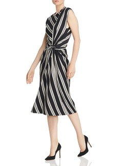 Narciso Rodriguez Striped Twist-Detail Wool-Blend Dress