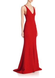 Narciso Rodriguez Textured Crepe V-Neck Gown