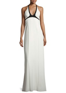 Narciso Rodriguez Two-Tone Crepe Halter Gown