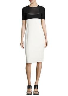 Narciso Rodriguez Two-Tone Short-Sleeve Sheath Dress