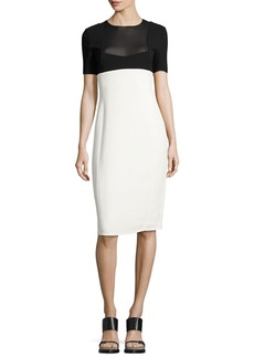 Narciso Rodriguez Two-Tone Short-Sleeve Sheath Dress