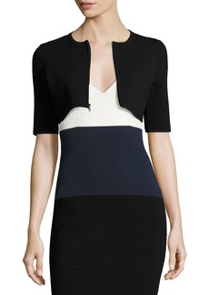 Narciso Rodriguez Waffle Zip-Front Cropped Cardigan