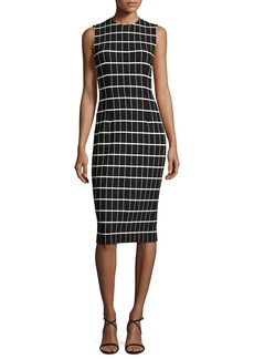 Narciso Rodriguez Windowpane Jacquard Sleeveless Sheath Dress