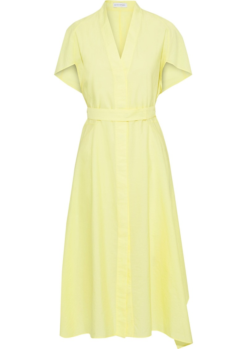 Narciso Rodriguez Woman Belted Crinkled Cotton-blend Poplin Midi Shirt Dress Chartreuse
